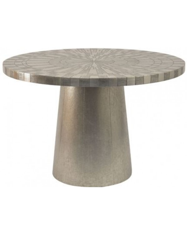 Coco Sliver Embossed Metal 4  Seater Round Dining...